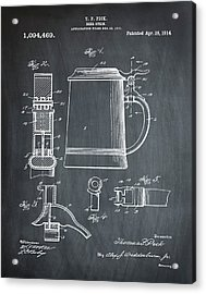 Beer Stein Patent 1914 In Chalk Acrylic Print