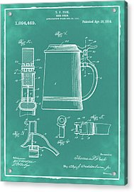 Beer Stein Patent 1914 In Green Acrylic Print