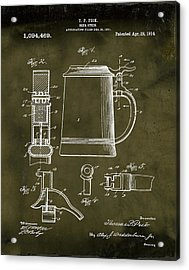 Beer Stein Patent 1914 In Grunge Acrylic Print