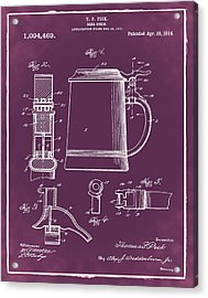 Beer Stein Patent 1914 In Red Acrylic Print