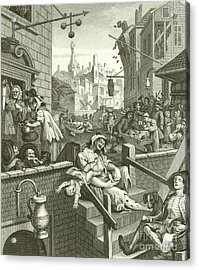 Beer Street And Gin Lane  Acrylic Print by William Hogarth