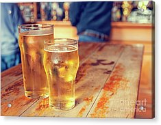 Acrylic Print featuring the photograph Beers In A Pub by Patricia Hofmeester