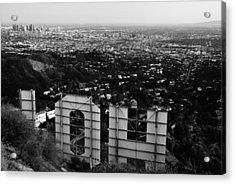 Behind Hollywood Bw Acrylic Print by James Kirkikis