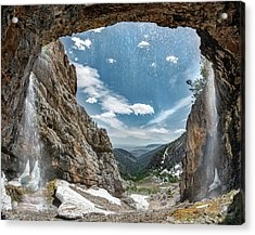 Acrylic Print featuring the photograph Behind The Falls by Leland D Howard