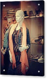 Behind The Glass.  Diversity Of Mannequin Acrylic Print by Jenny Rainbow