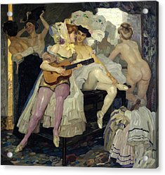 Behind The Scenes Acrylic Print by Leo Putz
