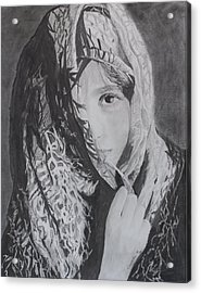 Acrylic Print featuring the drawing Behind The Veil by Quwatha Valentine