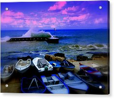 Beirut Seaside Waves Acrylic Print by Funkpix Photo Hunter