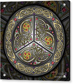 Acrylic Print featuring the mixed media Bejeweled Celtic Shield by Kristen Fox