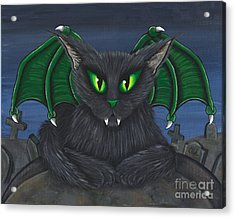 Acrylic Print featuring the painting Bela Vampire Cat by Carrie Hawks