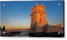 Belem Tower And The Moon Acrylic Print