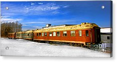 Belfast And Moosehead Railroad Cars In Winter Acrylic Print