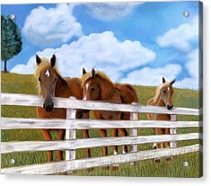 Acrylic Print featuring the pastel Belgians At Pasture by Jan Amiss