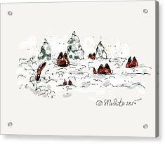 Belgians In Snow Acrylic Print by Little Dove  Doodles