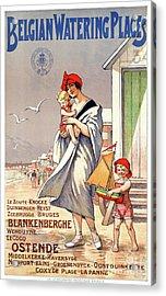 Belgium Ostende Vintage Travel Poster Restored Acrylic Print by Carsten Reisinger
