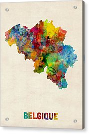 Belgium Watercolor Map Acrylic Print