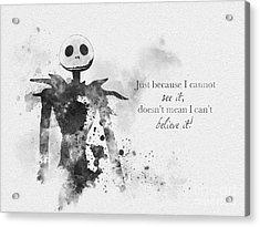 Believe Black And White Acrylic Print