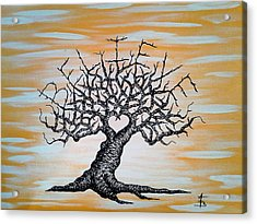 Acrylic Print featuring the drawing Believe Love Tree by Aaron Bombalicki