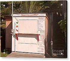 Belize - Sidewalk Breakfast Stand Acrylic Print by Jason Freedman