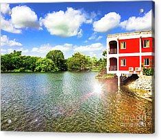 Belize River House Reflection Acrylic Print