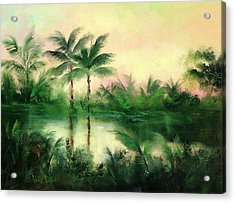 Belize River Acrylic Print by Sally Seago