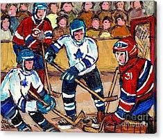 Bell Center Hockey Art Goalie Carey Price Makes A Save Original 6 Teams Habs Vs Leafs Carole Spandau Acrylic Print by Carole Spandau