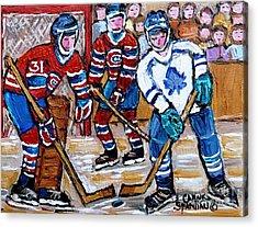 Bell Center Hockey Painting Carey Price Goalie Original 6  Habs Vs Leafs Hockey Art Carole Spandau Acrylic Print by Carole Spandau