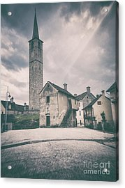 Bell Tower In Italian Village Acrylic Print