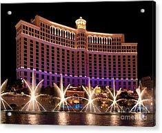 Bellagio Hotel And Casino Acrylic Print by Melody Watson