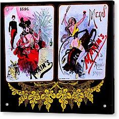 belle epoque-vintage Maxim's menu Acrylic Print by Adolfo hector Penas alvarado