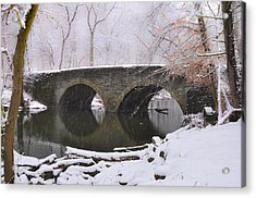 Bells Mill Bridge In A Snow Storm Acrylic Print by Bill Cannon