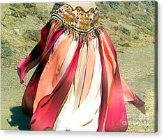 Belly Dance Fashion - Ameynra Skirt - Desert Rose Acrylic Print by Sofia Metal Queen