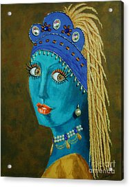 Belly Dancer With A Pearl Earring -- The Original -- Whimsical Redo Of Vermeer Painting Acrylic Print
