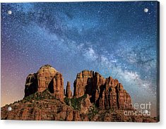 Below The Milky Way At Cathedral Rock Acrylic Print