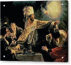 Belshazzars Feast Acrylic Print by Rembrandt