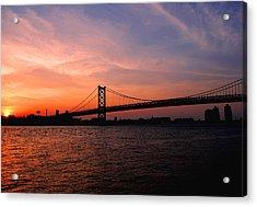 Ben Franklin Bridge Sunset Acrylic Print