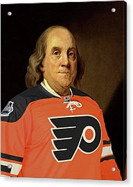 Ben Franklin In A Flyers Jersey Acrylic Print