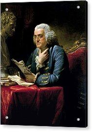 Ben Franklin Thumb Portrait 1767 Acrylic Print