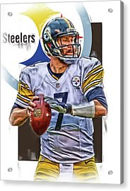 Ben Roethlisberger Pittsburgh Steelers Oil Art Acrylic Print by Joe Hamilton