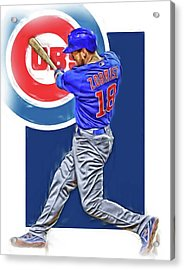 Ben Zobrist Chicago Cubs Oil Art Acrylic Print by Joe Hamilton