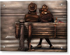 Bench - A Couple Out Of Time Acrylic Print by Mike Savad