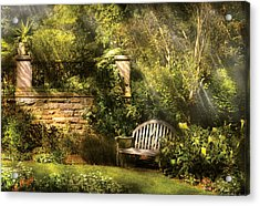 Bench - Edens Edge  Acrylic Print by Mike Savad