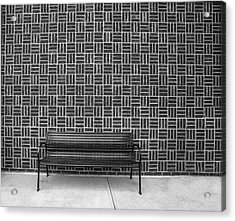 Acrylic Print featuring the photograph Bench 2017 Bw by Jim Dollar