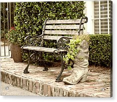 Bench And Boot 2 Acrylic Print