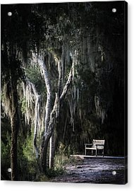Bench At Sunset Acrylic Print