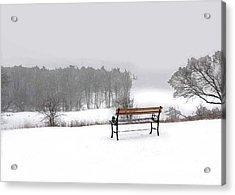 Bench In Snow Acrylic Print