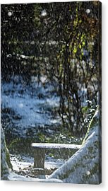 Acrylic Print featuring the photograph Bench In Snow by Rebecca Cozart