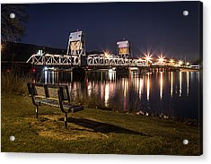 Bench In The Dark Acrylic Print