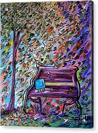 Bench On A Windy Day Acrylic Print by Eloise Schneider