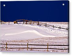 Acrylic Print featuring the photograph Bench On A Winter Hill by Don Nieman